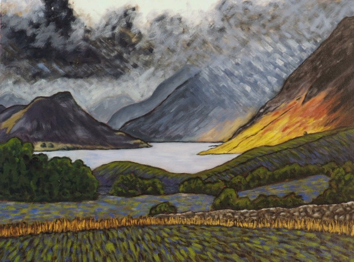 Dramatic Light on Crummock, Oil on canvas, 60 x 45 cm