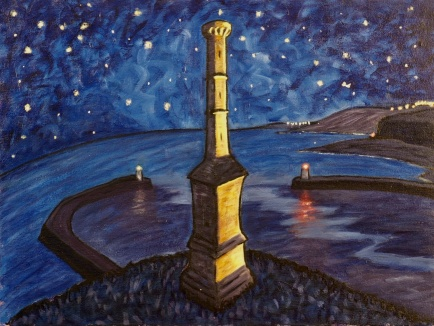 Candlestick & Stars, Oil on canvas, 60 x 45 cm