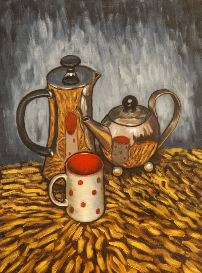 Coffee Time, Oil on canvas, 45 x 60 cm