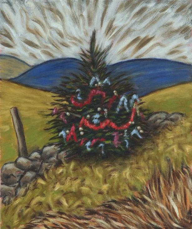 Christmas Tree on Dent Fell, Oil on canvas, 25 x 30 cm