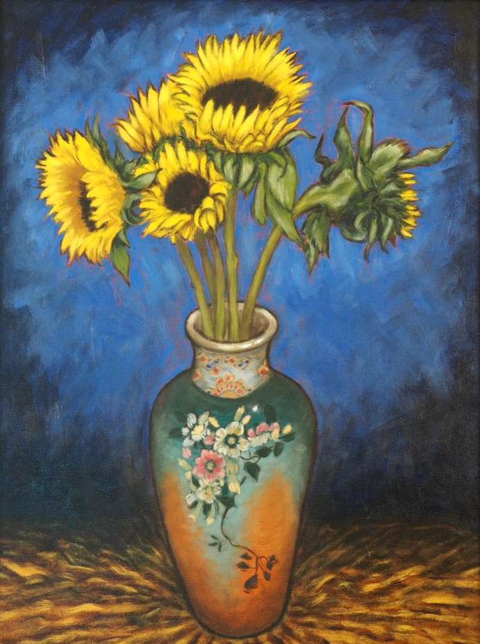 Sunflowers & Vase, Oil on canvas, 45 x 60 cm
