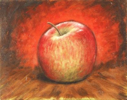 Apple Study No. 2, Oil on board, 26 x 20 cm