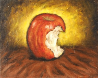 Apple Study No. 1, Oil on board, 26 x 20 cm