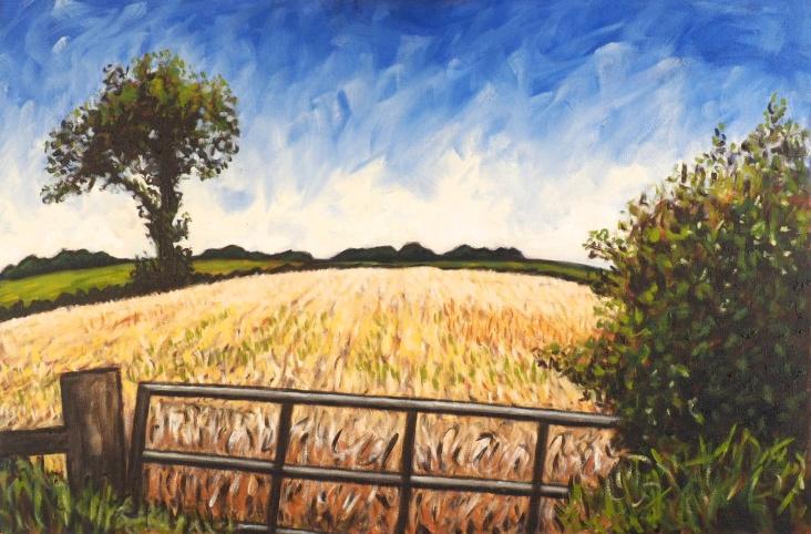 Field & Tree near Gilcux, Oil on canvas, 75 x 50 cm