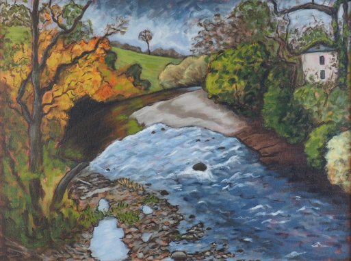 View from Bridge over Cocker, Oil on canvas, 60 x 45 cm