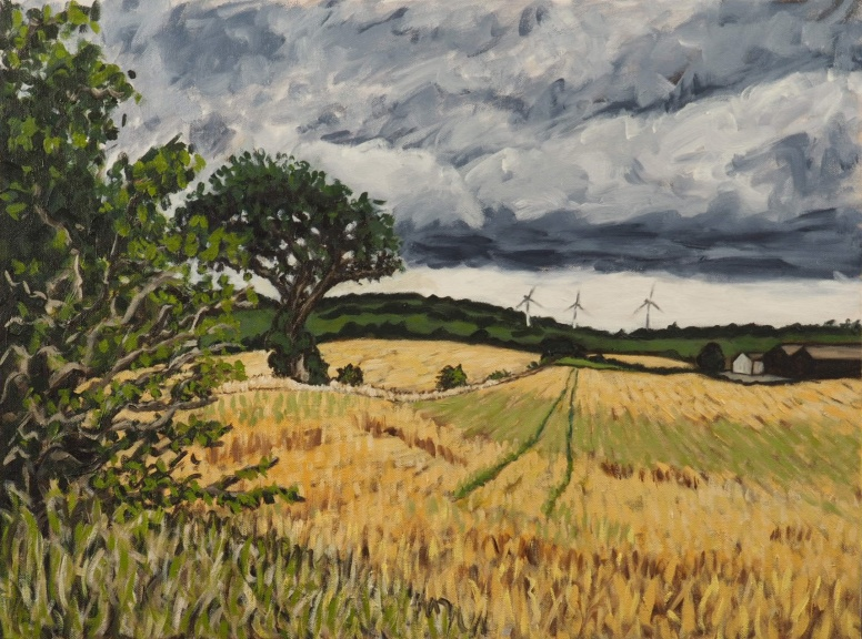 Wheat Field and Windmills, Oil on canvas, 60 x 45 cm